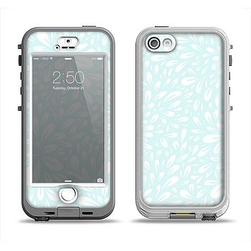 The Light Teal Blue & White Floral Sprout Apple iPhone 5-5s LifeProof Nuud Case Skin Set