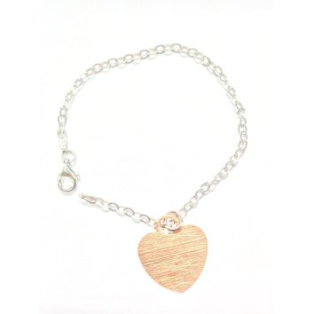 Italian Rose Gold Plated Sterling Silver Scratched Heart Pendant Bracelet 7""