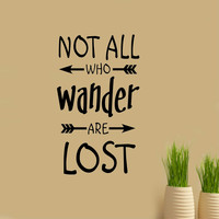 Not all who Wander Arrow Decal | Vinyl Wall Lettering | Wall Quotes