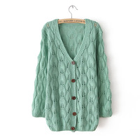 Sweet Hollow Out Leaves Cardigan