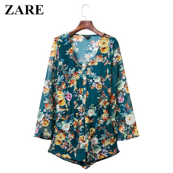 Vintage Women's Fashion V-neck Summer Pullover Chiffon Print Jumpsuit [4905585988]