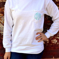 Long Sleeved MONOGRAMMED Pocket Tee - Sorority Gift - Greek Lettering - Bridesmaid Gift
