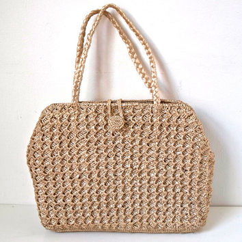 Raffia Hand Bag / Purse - Fully Lined Straw Vintage Purse - 60s 70s