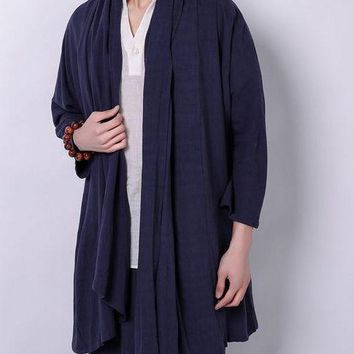 3color Male cotton&linen tang suit Chinese hanfu robes loose gown zen lay meditation tai chi kung fu/martial arts jacket costume