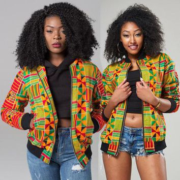 Retro Women African Dashiki Jacket Casual Long Sleeve Flora Coat Outwear Zipper