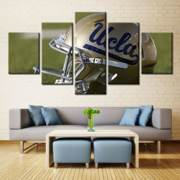 UCLA Bruins Helmet NCAA Football 5 Panel Canvas Wall Art Home Decor
