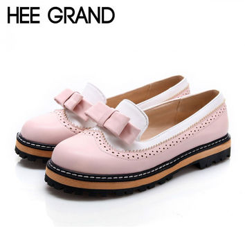 HEE GRAND Bowtie Loafers Women Shoes Platform Brogue Shoes Woman Casual Creepers Sweet Patchwork Oxfords Slip On Flats XWD3421