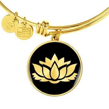 Lotus Flower v2 - 18k Gold Finished Bangle Bracelet