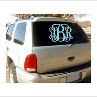 Vine Monogram Decal Car Decal Cornhole Board Decal Outdoor Vinyl Decal Various Sizes Preppy Southern Monogram Vine Monogram Decal
