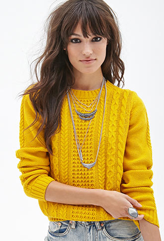 Forever 21 Cable Knit Sweater Mustard From Forever 21 F21