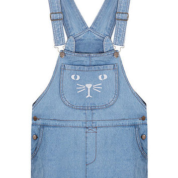 Blue Cat Pocket Demin Modern Suspender Dress