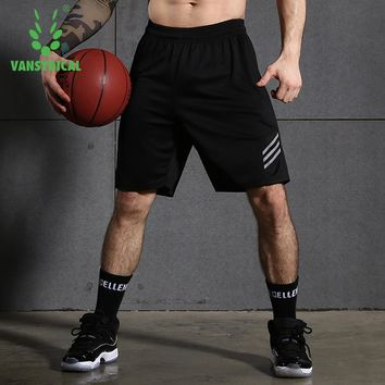 Vansydical Sports Running Shorts Men's Zipper Pocket Gym Jogging Shorts Quick Dry Fitness Workout Basketball Shorts