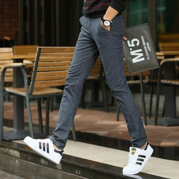 Spring Autumn casual pants male skinny straight youth Korean men cotton linen casual trousers long pants