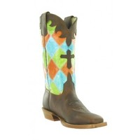 Anderson Bean Cowboy Boots Honey Crazyhorse Distressed Patchwork Top Cross Inlay Kids Cowboy Boots