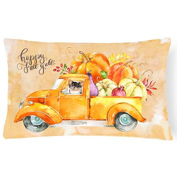 Fall Harvest Long Haired Chihuahua Canvas Fabric Decorative Pillow CK2672PW1216