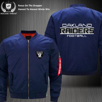 Dropshipping USA Size Unisex MA-1 Oakland Raiders Men Women Flight Jacket Costume Design Printed Bomber Jacket Costume made