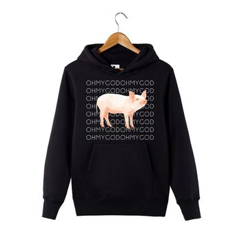 2018 New Fashion Shane Dawson Oh My God Pig Hoodie Funny Graphic Sweatshirt Youth Hooded Pullover