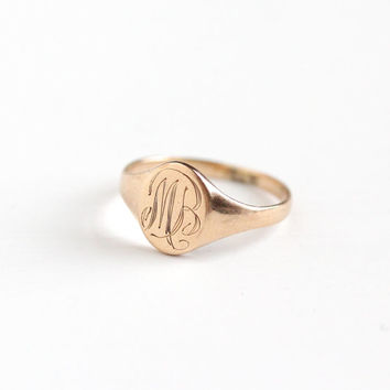 "Antique Monogrammed MB 10k Rose Gold Ring - Vintage Early 1900s Edwardian Art Deco Size 5 Initial Cursive Font Fine Signet ""MB"" Jewelry"