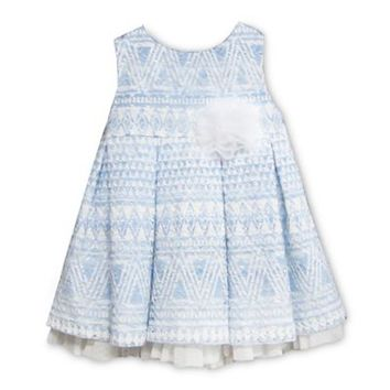 Pippa & Julie™ Sleeveless Patterned Dress with Pleated Skirt in Blue and White
