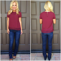 Charlotte Crochet Lace & Beaded Detailed Blouse - BURGUNDY