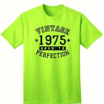 1975 - Adult Unisex Vintage Birth Year Aged To Perfection Birthday T-Shirt