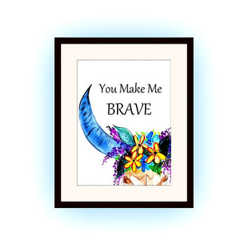 You make me brave, Printable Wall Art,bull ox head, watercolor painting, home decor decal, Quote decals, bohemian skull print, nursery decal