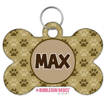 TWO-SIDED Custom Dog Bone Personalized Pet Tag - Pawprint Paws Animal Print Monogrammed Girl Boy Female Male