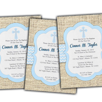 Baby Blue Baptism Invitation Boys - Christening Invitation - Powder Blue Baptism Invitation - Boy Invite - Fast - Cross - Spanish - LDS