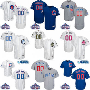 Men's/youth 2016 World Series Champions Gold Program Custom Chicago Cubs Baseball Jersey Flexbase Collection For Sale stitched size S-5XL