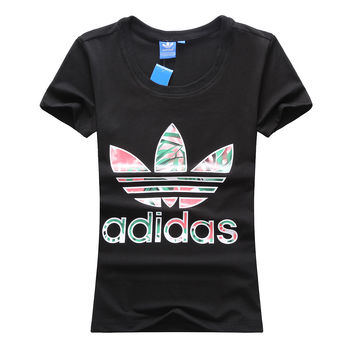 """Adidas"" Women Casual Retro Multicolor Clover Letter Print Round Neck Short Sleeve Cotton T-shirt"