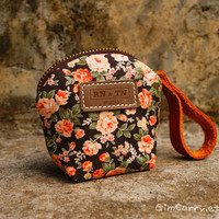 Vintage Orange Roses and Orange Leather / Pretty pouch by GimCarry