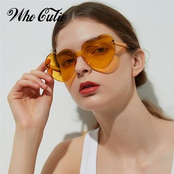 WHO CUTIE 2018 Vintage Heart Shape Sunglasses Women Brand Design Rimless Frame Sun Glasses Purple Red Pink Yellow Shades OM448