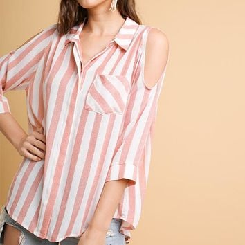 Striped Cold Shoulder Button Down