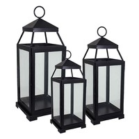 3-piece Metal Lantern Set (Black)