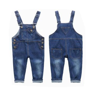 Boys Girls Denim Jumpsuit 2017 New Fashion Children Overalls 2 3 4 5 6 7 8 9 10 Year Baby Kids Jeans Pants
