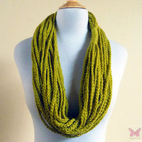 Infinity scarf - YELLOW GREEN / Lemongrass Chain scarf - accessories - chunky - long - crochet