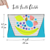 Tutti Frutti faux Leather Clutch BabyBlue Pink Banana Strawberries Blueberries Plum Lemon Notebook Pattern Trendy Cool Purse