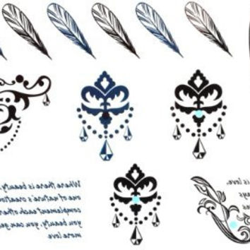 SPESTYLE body art design tattoo tickers feather tattoos, crown jewelry tattoos and english words temporary tattoos stickers