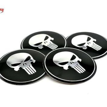 Skull Skulls Halloween Fall 4PC 65mm  Face Car Wheel Centre Center Caps Emblem Sticker For F22 E46 F82 E64 E38 E31 Car Hubs Caps Badge Sticker 280a Calavera