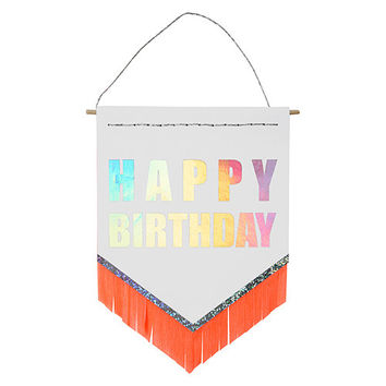 happy Birthday Neon Fringe Banner Card