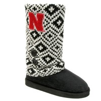 Nebraska Cornhuskers Sweater-Knit Microsuede Boot Slippers