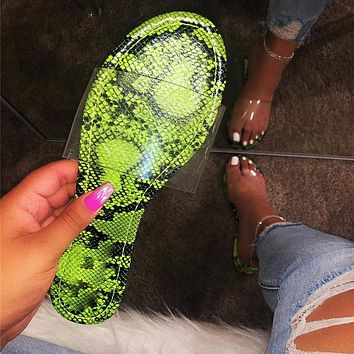 Snakeskin sandals for women's flats are on sale