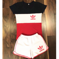 "Women Fashion ""Adidas"" Print Short sleeve Top Shorts Pants Sweatpants Set Two-Piece Sportswear Black+red"