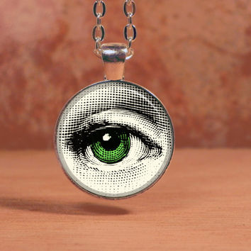 Vintage Printed Green Eye Pendant Necklace