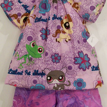 Girls  Short Set-Peasant Top- Pet shop in Lavender--#254
