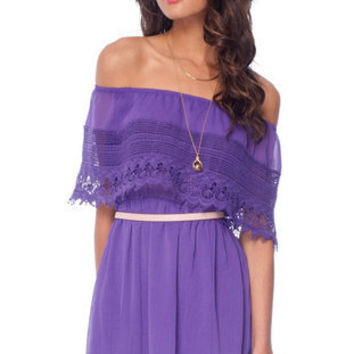 Catarina Off Shoulder Dress in Purple-tobi.com