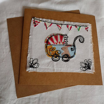 Welcome baby-Free motion machine embroidery-baby shower-shabby chic-greetings card-welcome-birth card- applique textiles collage