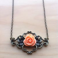 Victorian Flourish Rose Necklace