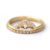 Diamond Wedding Set - Marquise Diamond Petals Engagement Ring - Diamond Eternity Ring - 18k Solid Gold