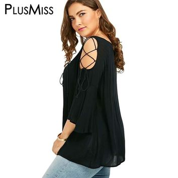 Plus Size 5XL Sexy Lace Up Loose Blouse Shirt Women Flare Sleeve Tops Vintage Cold Shoulder Top Summer 2017 Big Size Blusas